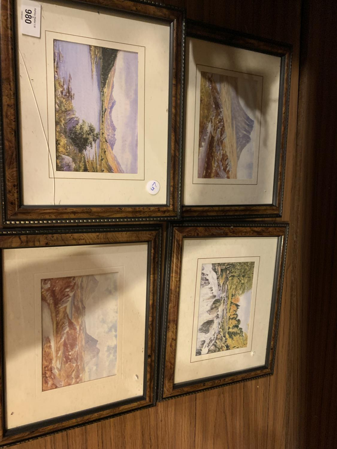FOUR FRAMED COUNTRYSIDE LAKE PICTURES