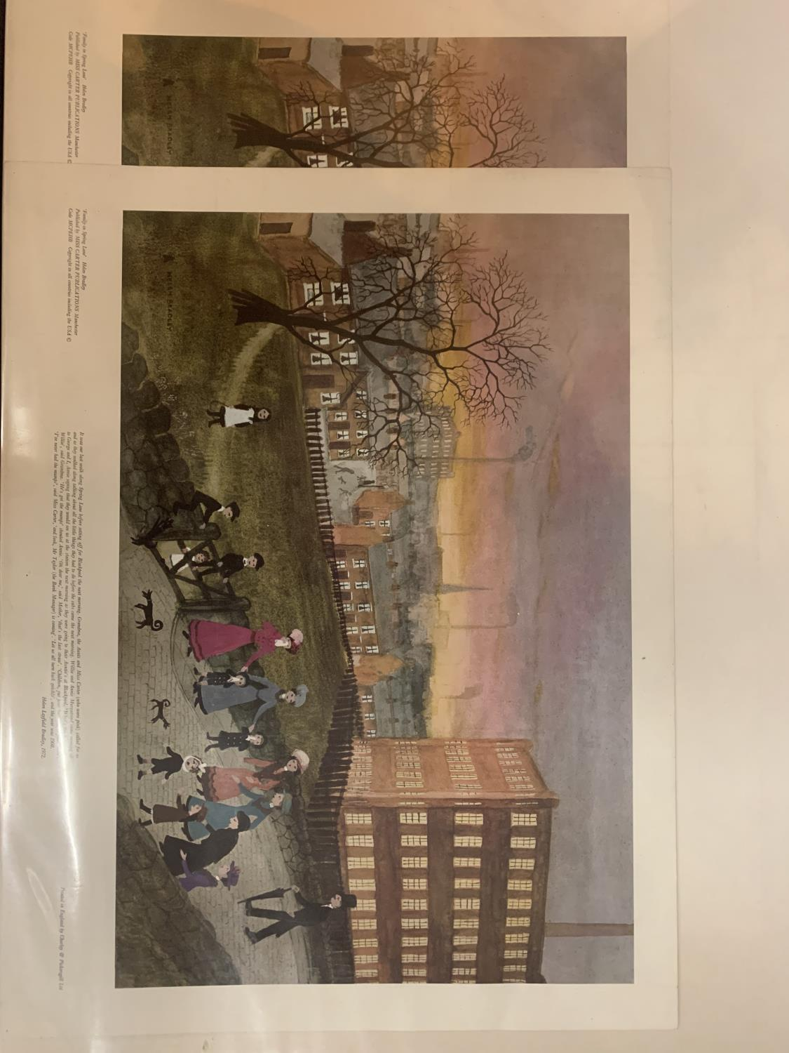 TWO PRINTS OF 'FAMILY IN SPRING LANE' BY HELEN BRADLEY AND TWO SMALLER PRINTS MOUNTED IN LARGE ART - Image 3 of 6
