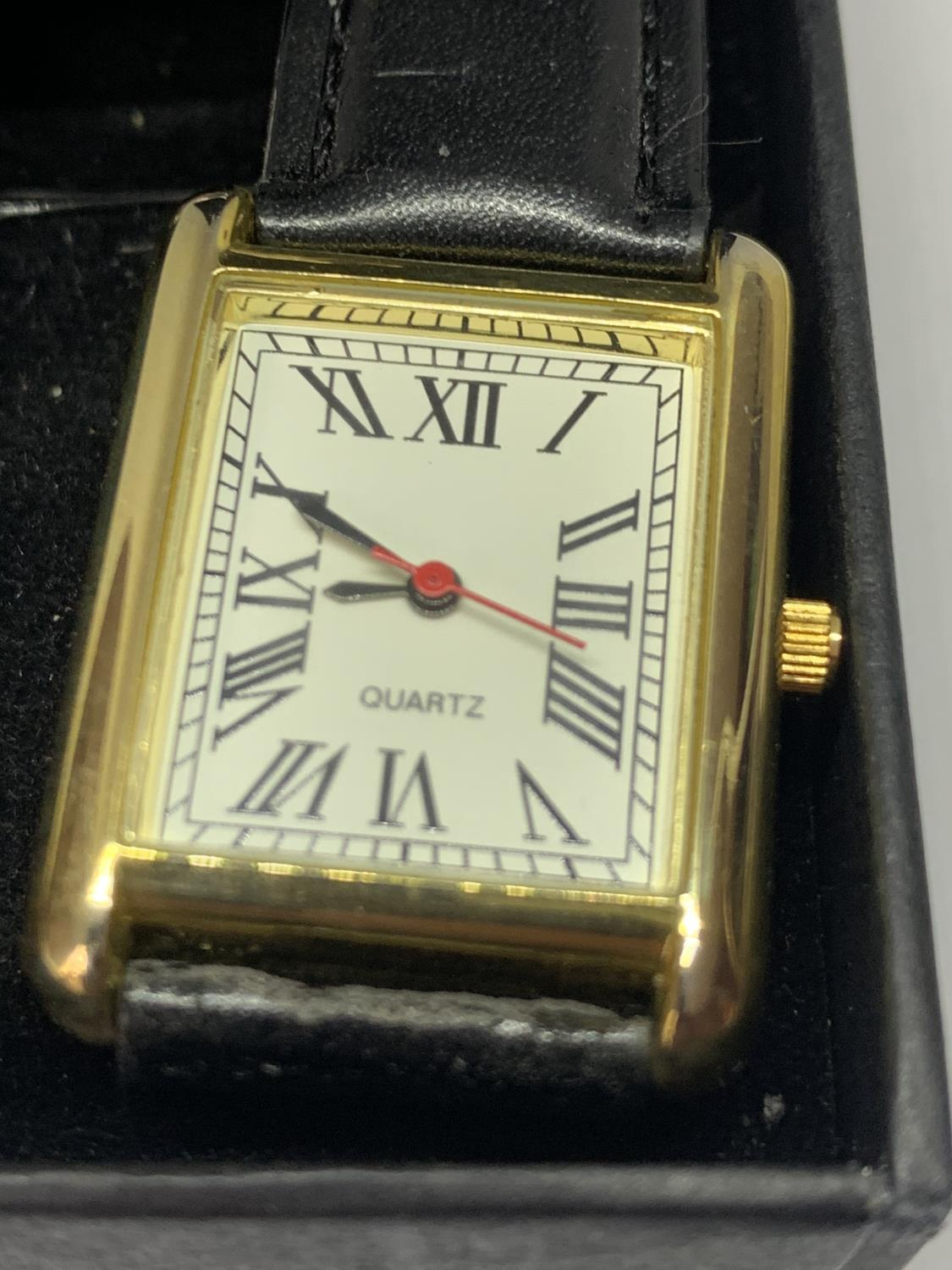TWO WRISTWATCHES WITH BLACK LEATHER STRAPS - Image 2 of 3