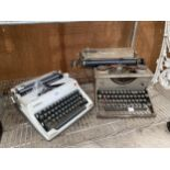 A VINTAGE IMPERIAL TYPEWRITER AND A FURTHER RETRO OLYMPIA TYPEWRITER