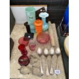 AN ASSORTMENT OF ITEMS TO INCLUDE EPNS SPOONS, BISCUIT CUTTERS AND VASES ETC