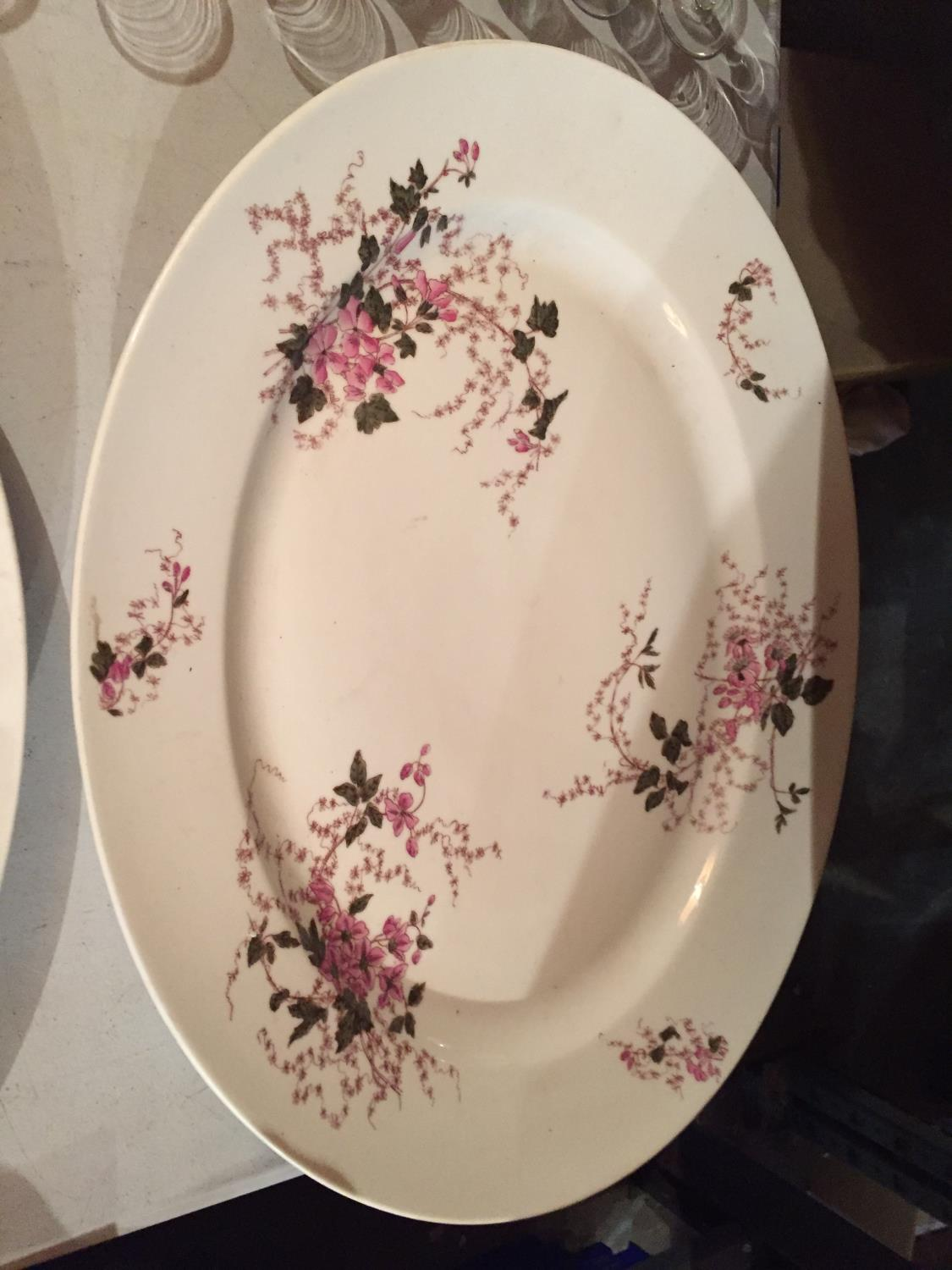 TWO LARGE HEAVY CERAMIC MEAT PLATTERS WITH A DELICATE PINK FLOWER DESIGN - Image 5 of 6