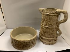 TWO HILLSTONIA STONEWARE ITEMS TO INLCUDE A LARGE JUG, HEIGHT 28CM AND FURTHER BOWL, DIAMETER 22CM