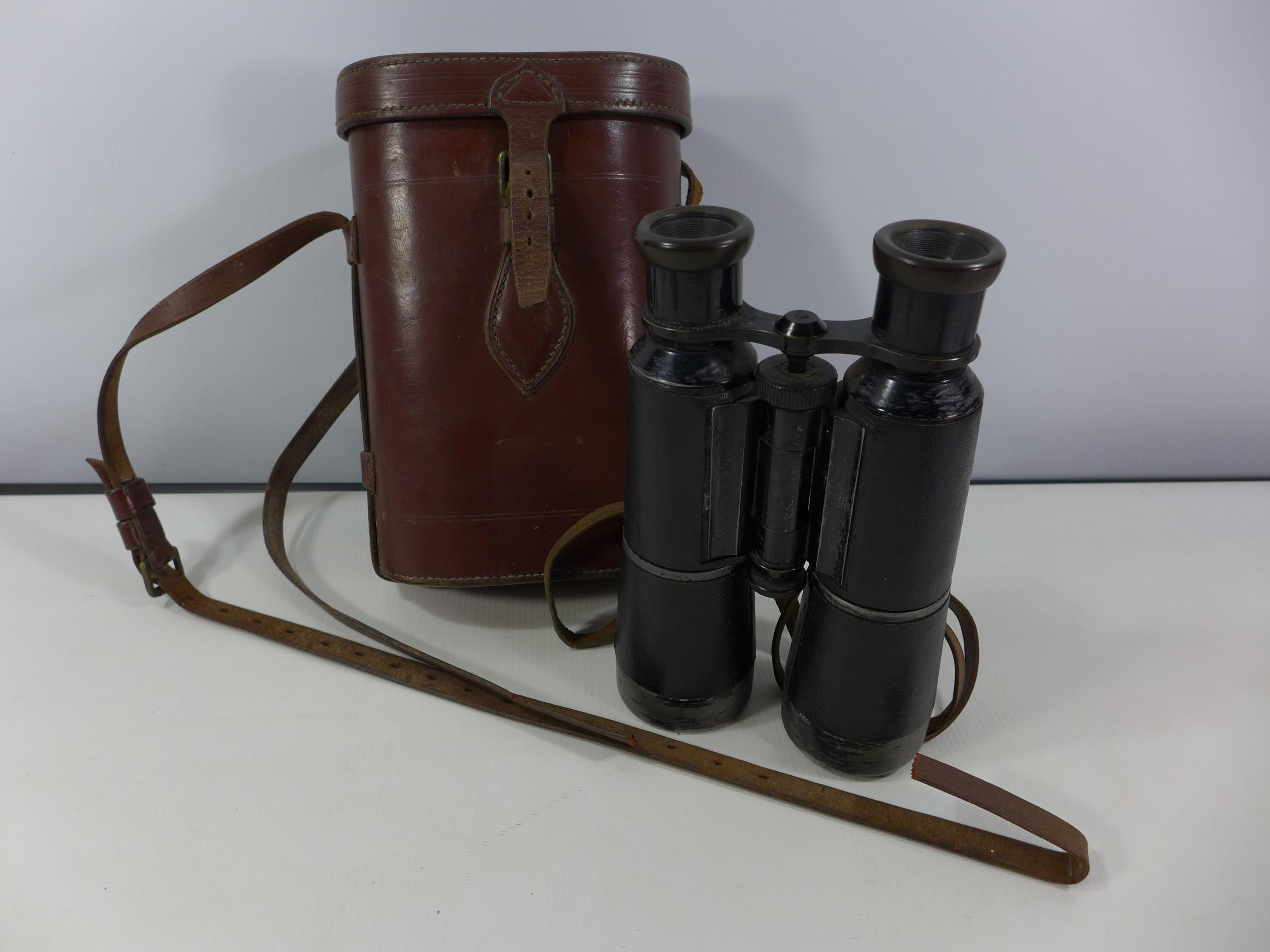 A PAIR OF IMPERIAL GERMAN HENSOLDT ARINE DIALYT 8X FERNGLAS BINOCULARS, TOGETHER WITH LEATHER CASE