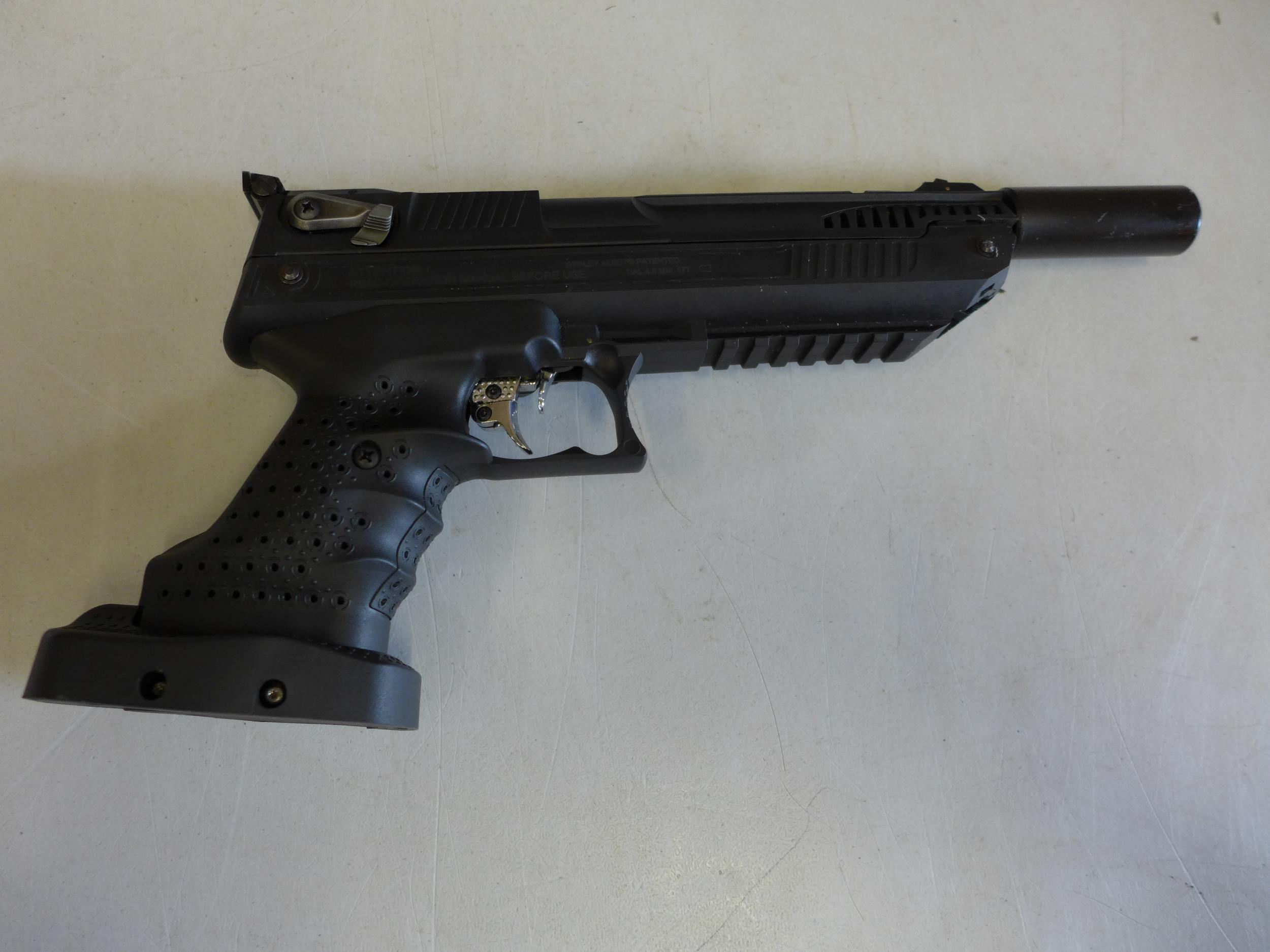 A CASED WEBLEY ALECT .177 CALIBRE AIR PISTOL, WITH SCREW ON SILENCER AND A TIN OF PELLETS - Image 3 of 4