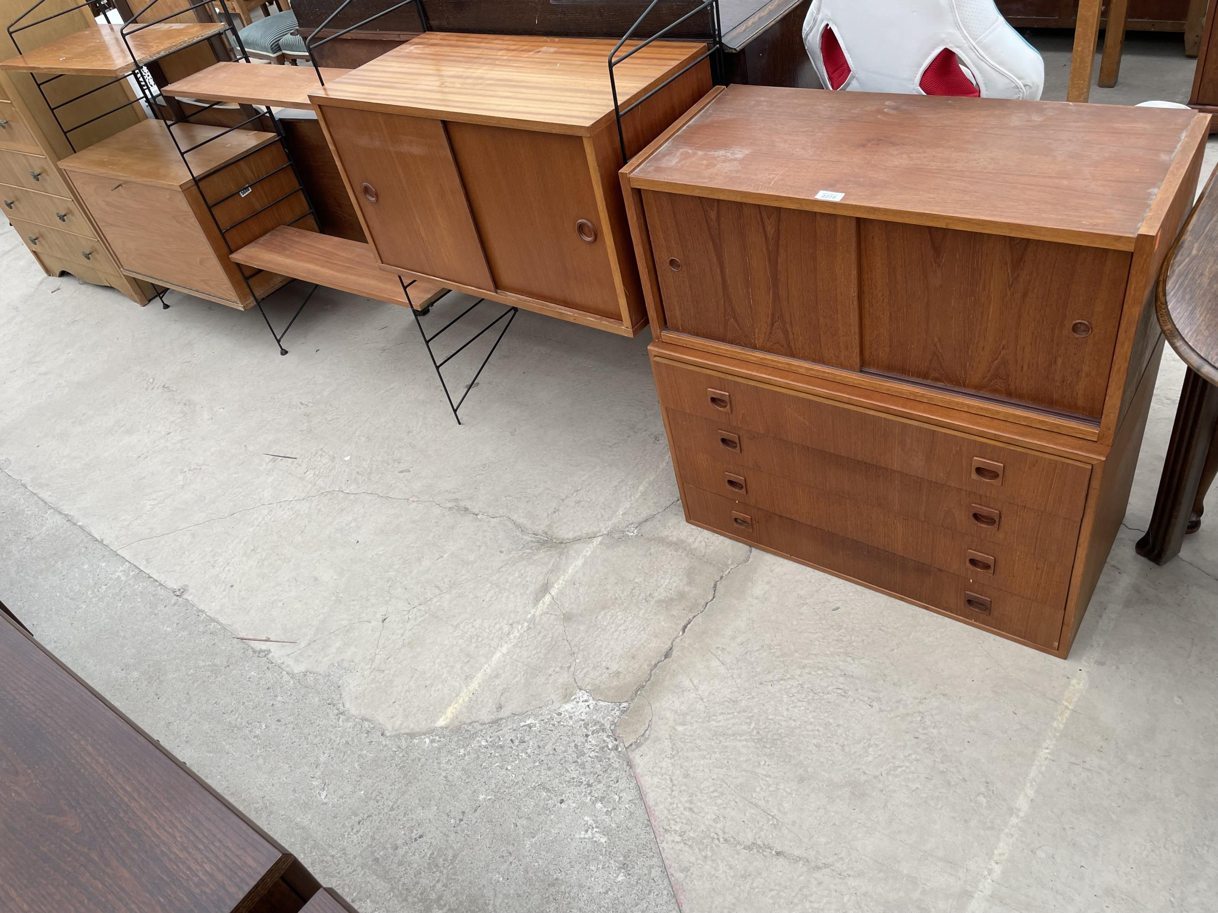 """FOUR SECTION RETRO TEAK LADDERAX STYLE WALL UNIT ENCLOSING CUPBOARD AND DRAWERS 128"""" WIDE IN TOTAL"""