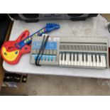 A BONTEMPI ELECTRIC KEYBOARD AND A CHILDRENS GUITAR