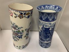 TWO DECORATIVE VASES, ONE MASON'S 'SWANSEA' (6 1310 4) ORIENTAL DESIGN, HEIGHT 32CM AND FURTHER BLUE