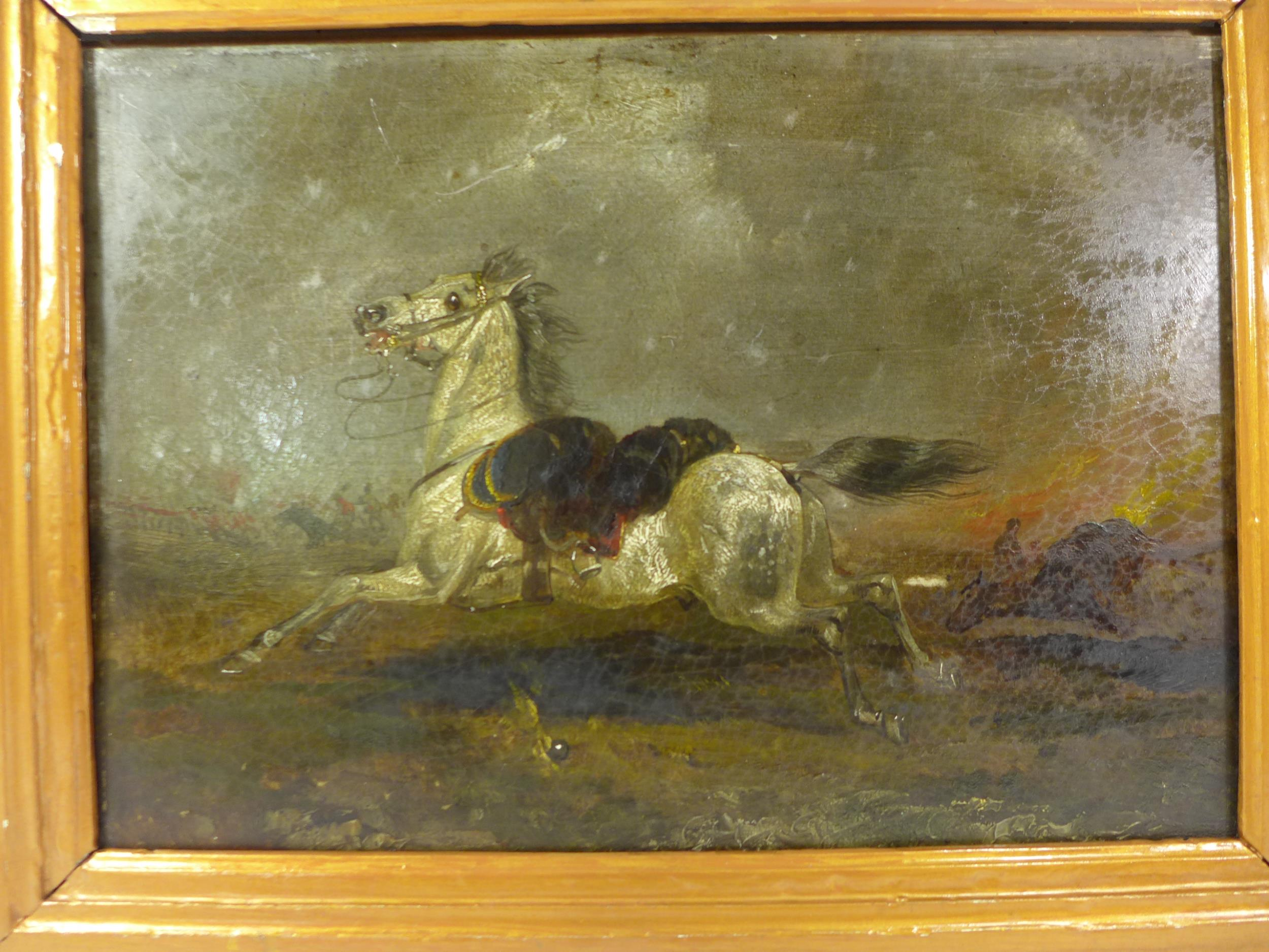 A 19TH CENTURY OIL ON PANEL PAINTING OF A GREY RIDERLESS HORSE IN A NAPOLEONIC WAR BATTLE SCENE, - Image 2 of 3