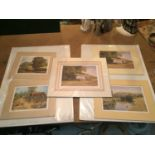 THREE MOUNTED SIGNED PRINTS OF FARM SCENES IN A HARDBACK PROTECTIVE FOLDER