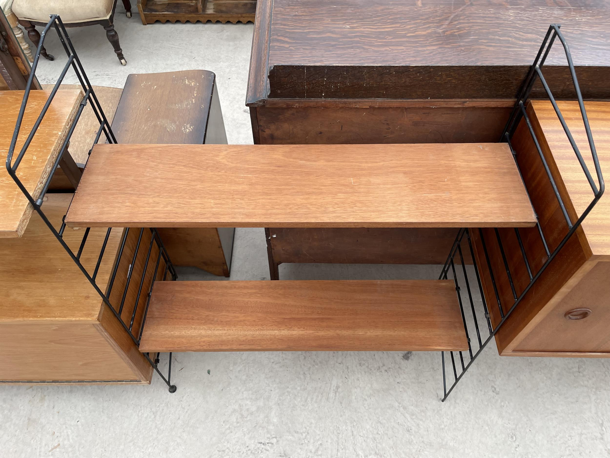 """FOUR SECTION RETRO TEAK LADDERAX STYLE WALL UNIT ENCLOSING CUPBOARD AND DRAWERS 128"""" WIDE IN TOTAL - Image 4 of 6"""
