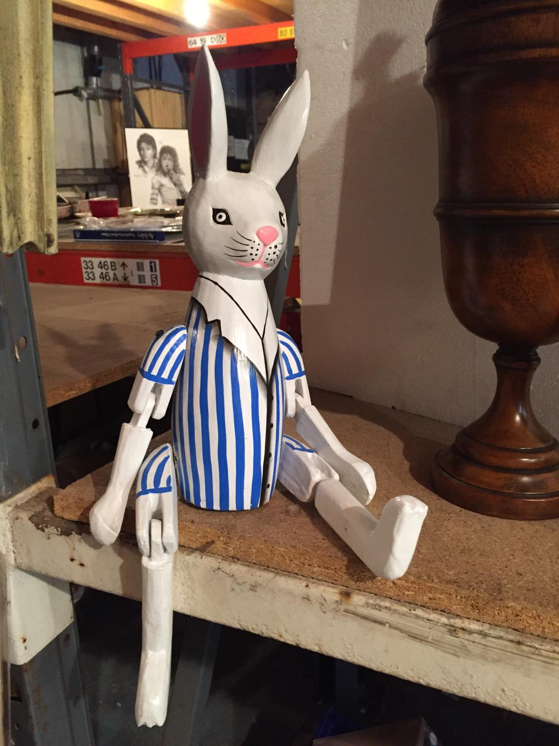 A WOODEN PAINTED SHELF PUPPET OF A RABBIT - Image 2 of 6