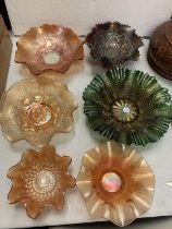 SIX CARNIVAL WARE DISHES