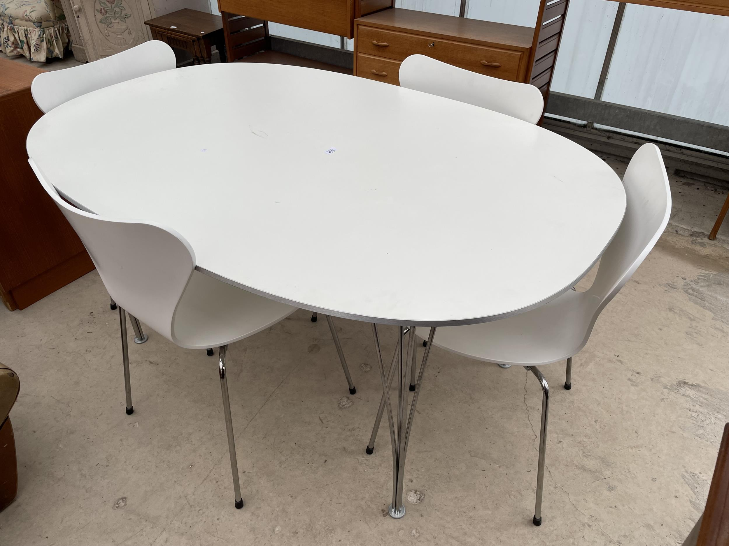 A WHITE OVULAR DINING TABLE BEARING LABEL 'MADE IN DENMARK, REPUBLIC OF FRITZ HANSEN DESIGN: PIET