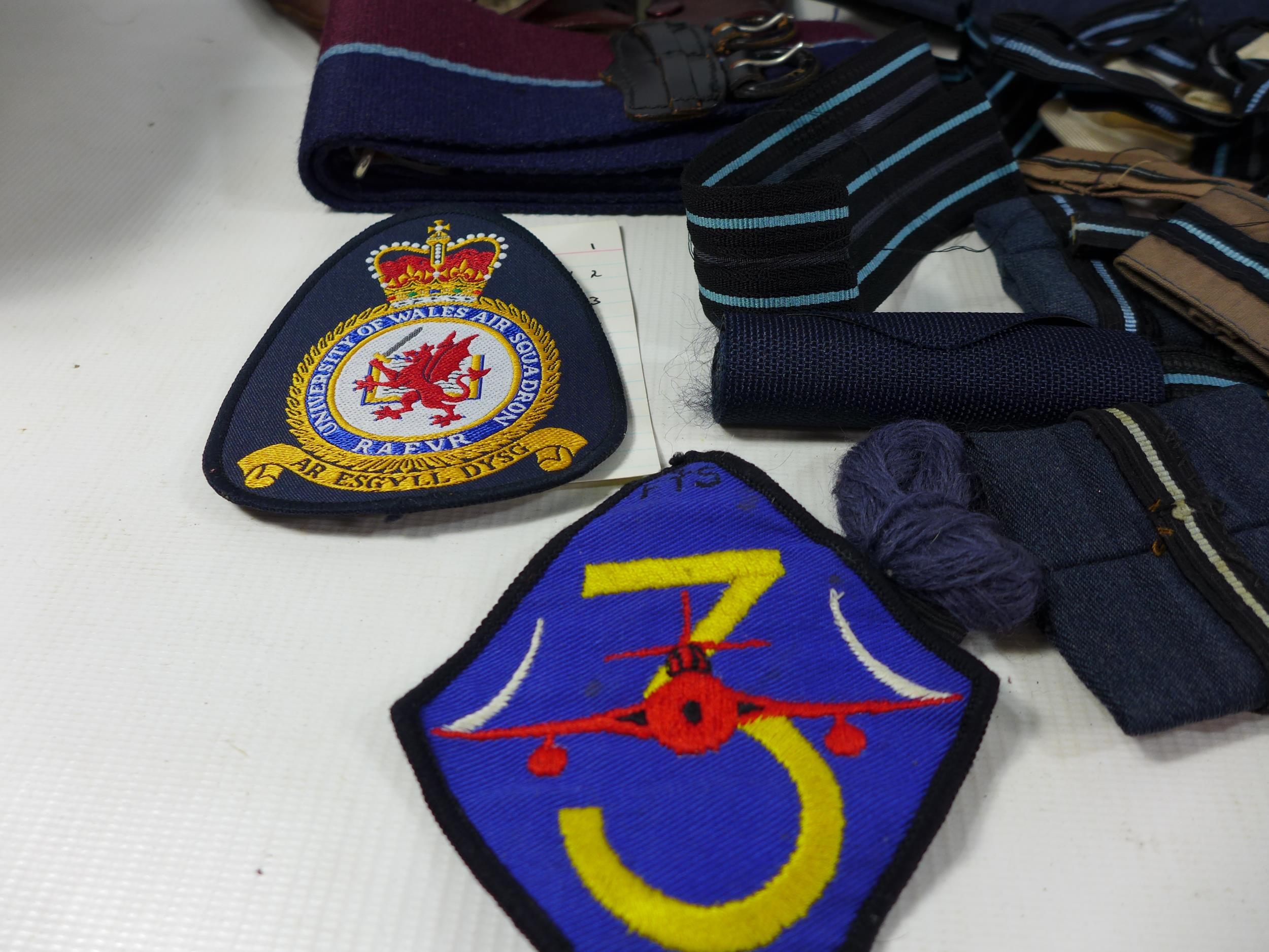A COLLECTION OF RAF MEMORABILIA COMPRISING CAP, GLOVES, BELTS, FLASHES ETC - Image 3 of 6