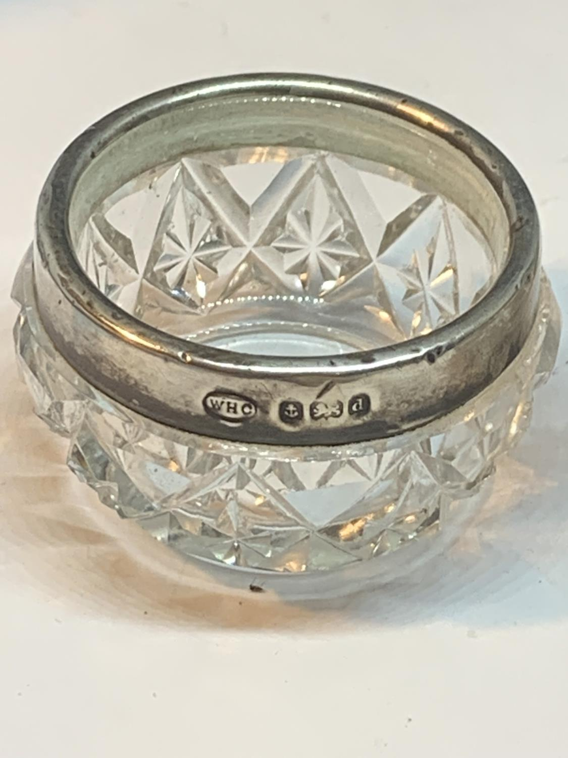 TWO GLASS POTS ONE WITH A HALLMARKED BIRMINGHAM SILVER RIM AND ONE WITH AN INDISTINCT HALLMARKED - Image 2 of 3
