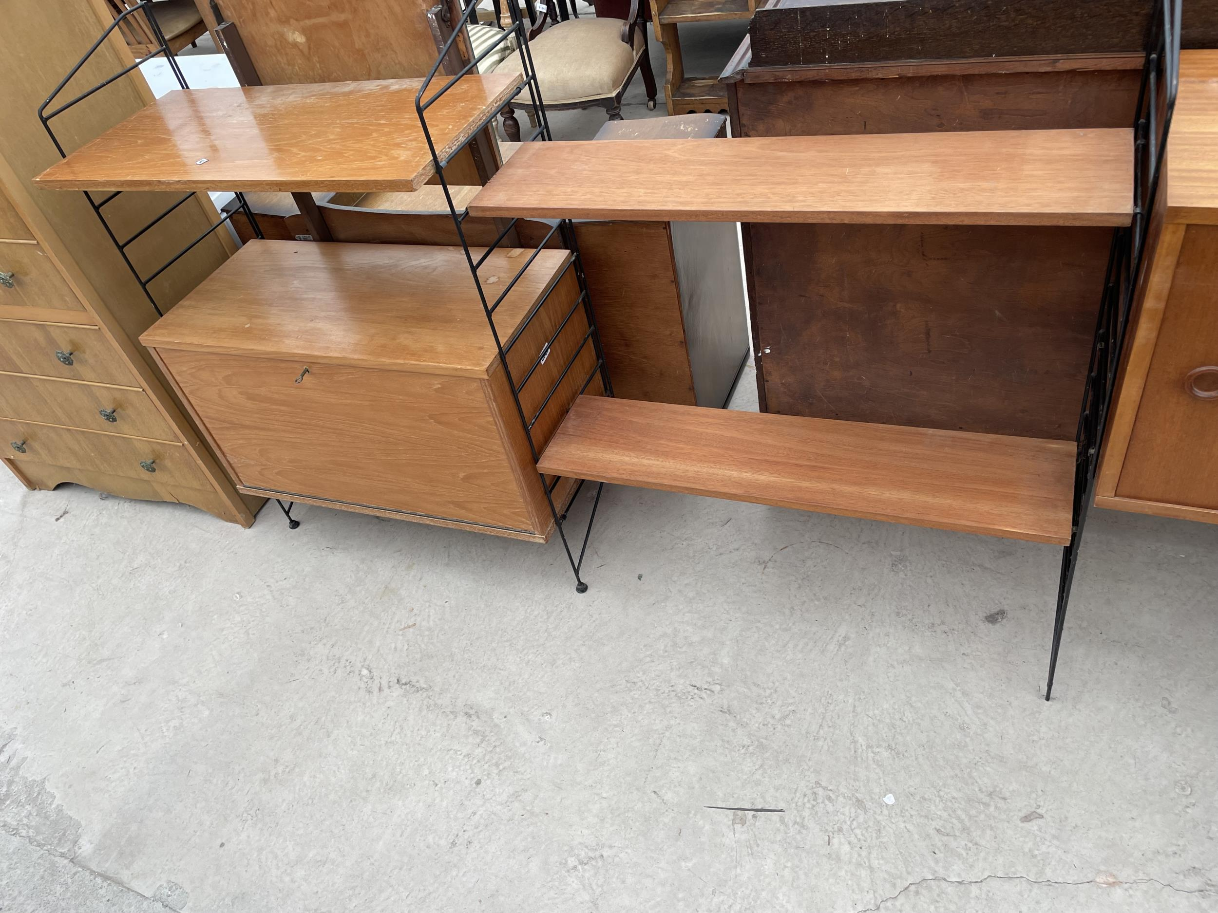 """FOUR SECTION RETRO TEAK LADDERAX STYLE WALL UNIT ENCLOSING CUPBOARD AND DRAWERS 128"""" WIDE IN TOTAL - Image 3 of 6"""
