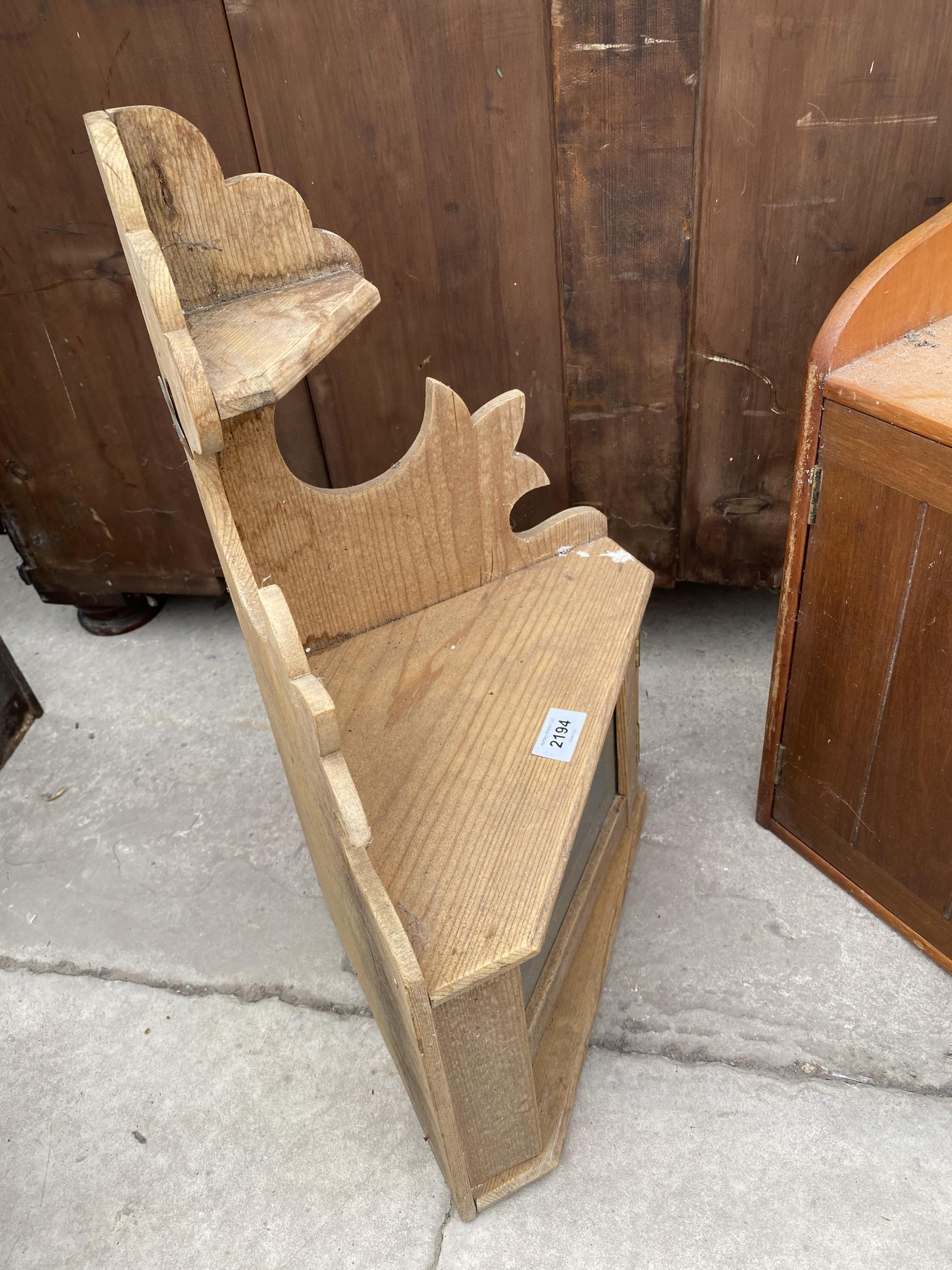 A PINE CORNER SHELF AND TWO DOOR WALL CUPBOARD - Image 2 of 3