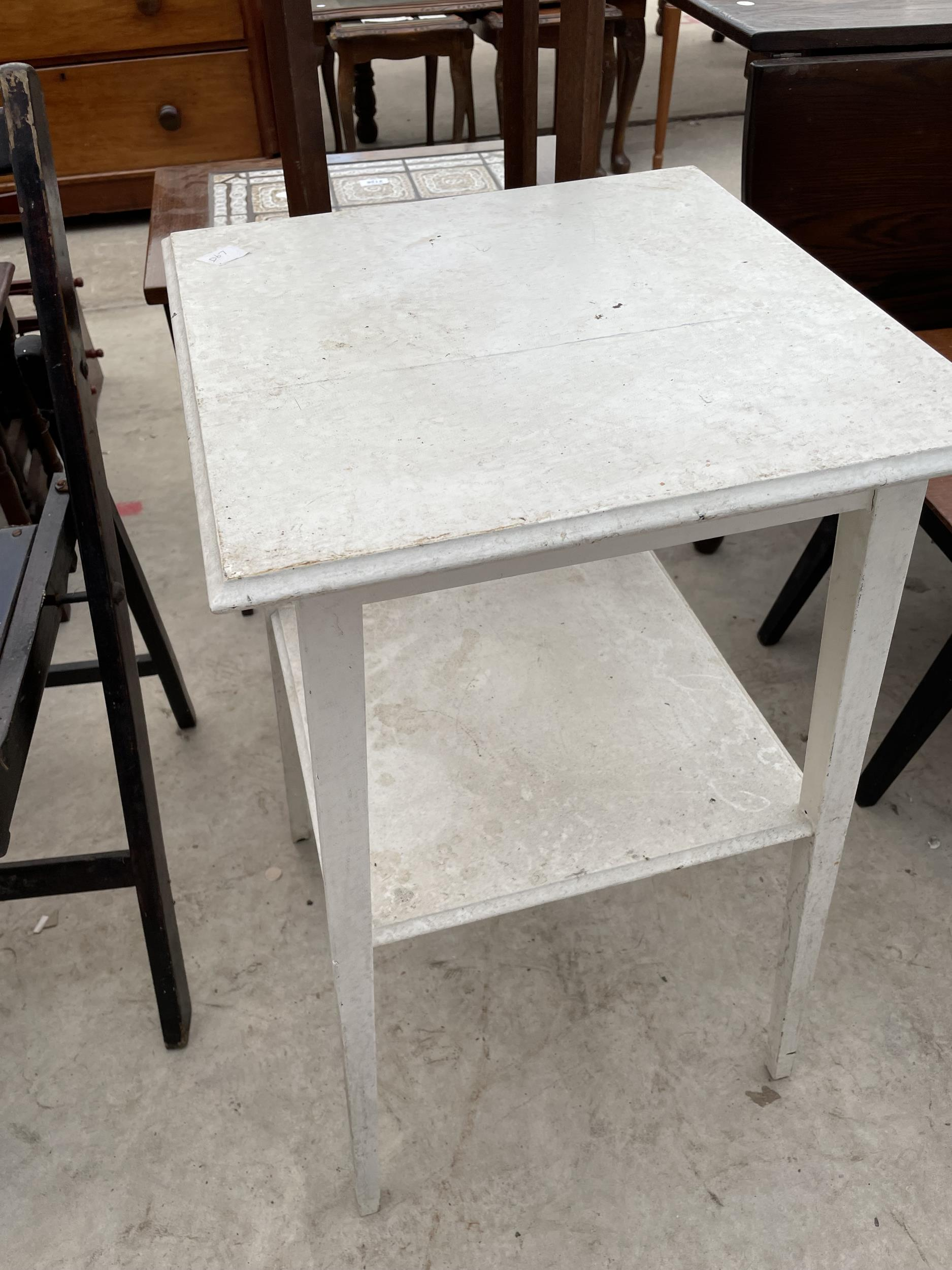 A FOLDING CARD TABLE AND CHAIR, JARDINIER STAND AND PAINTED OCCASIONAL TABLE - Image 5 of 6