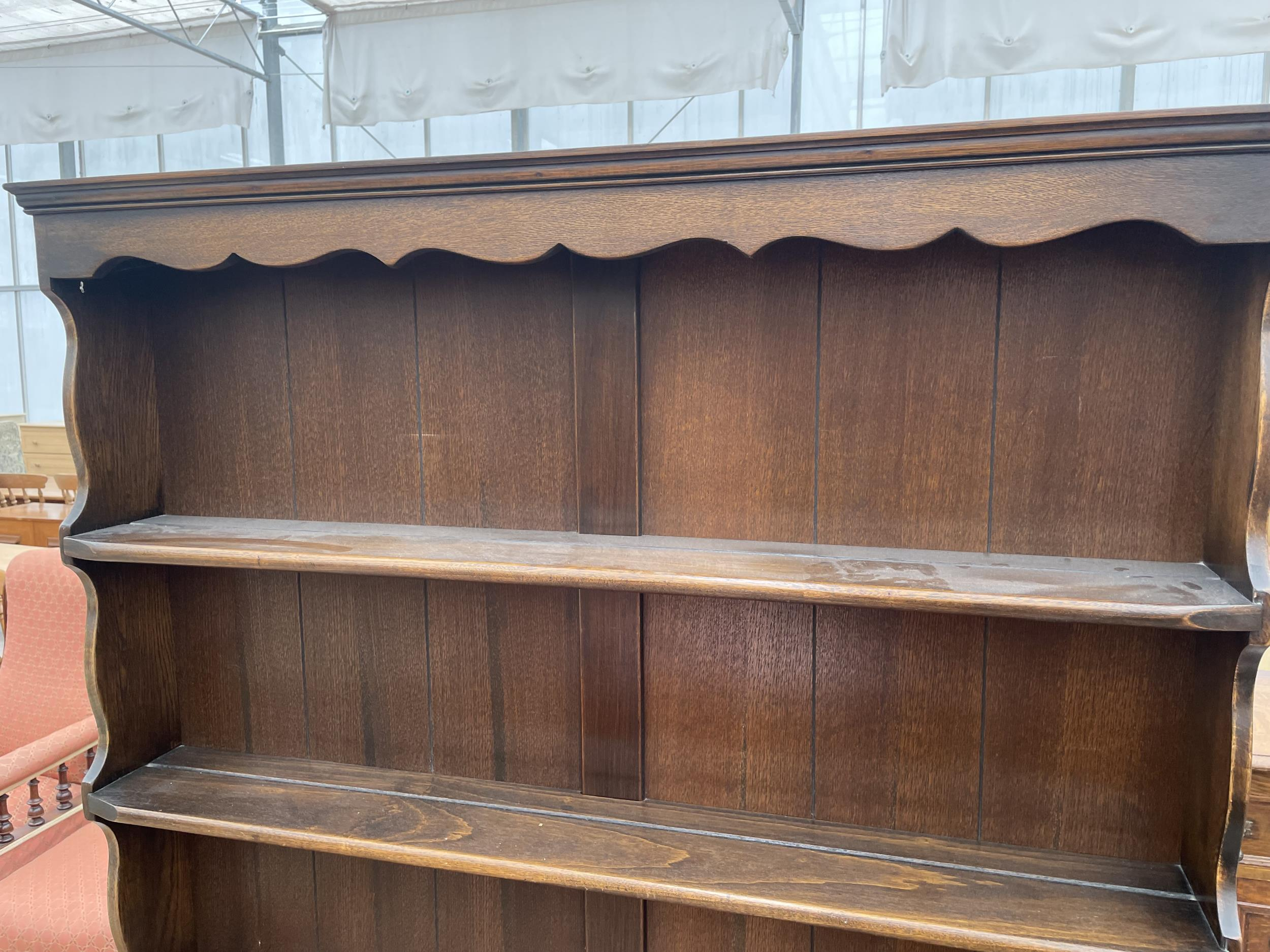 """AN OAK OLD CHARM STYLE DRESSER WITH PLATE RACK 42"""" WIDE - Image 2 of 4"""