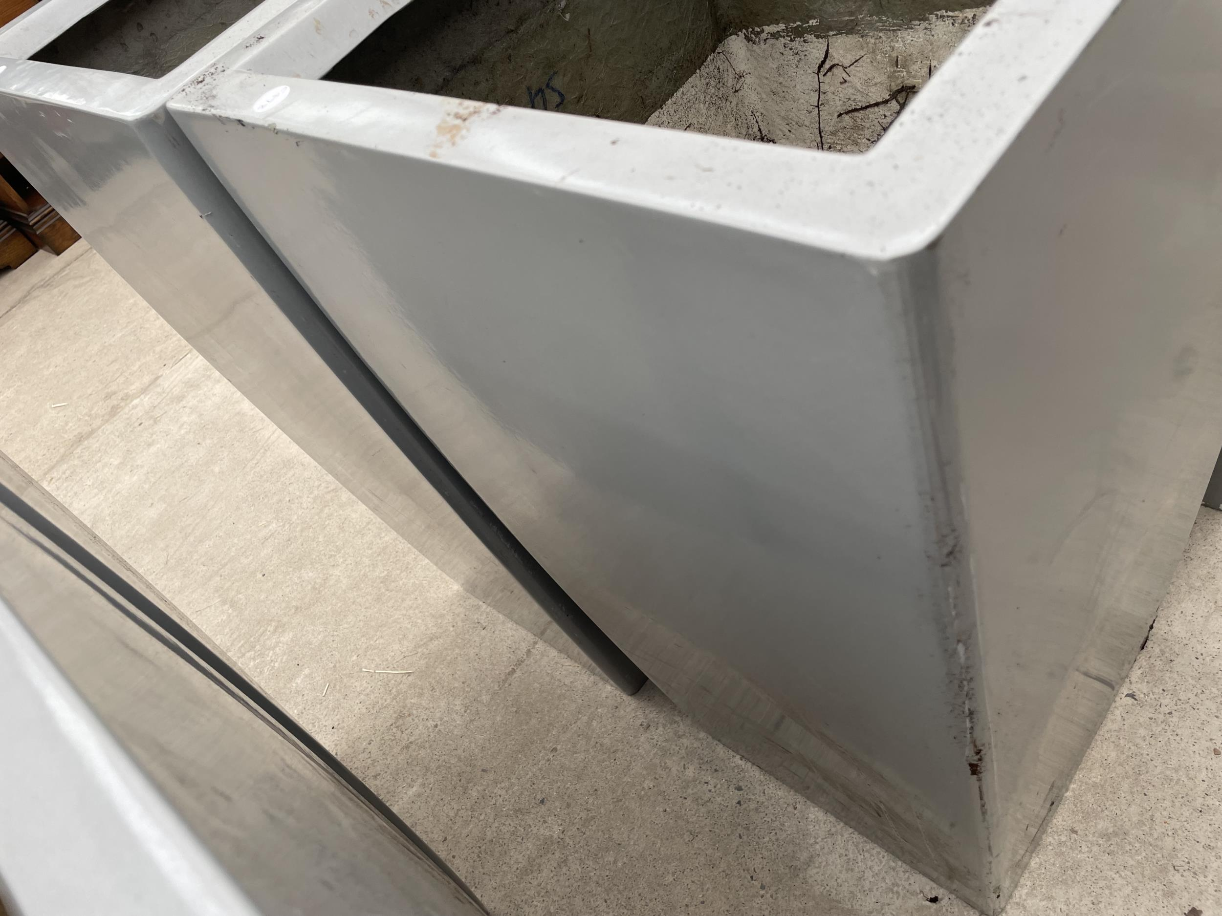 TWO LARGE GREY PLASTIC PLANTERS - Image 3 of 3