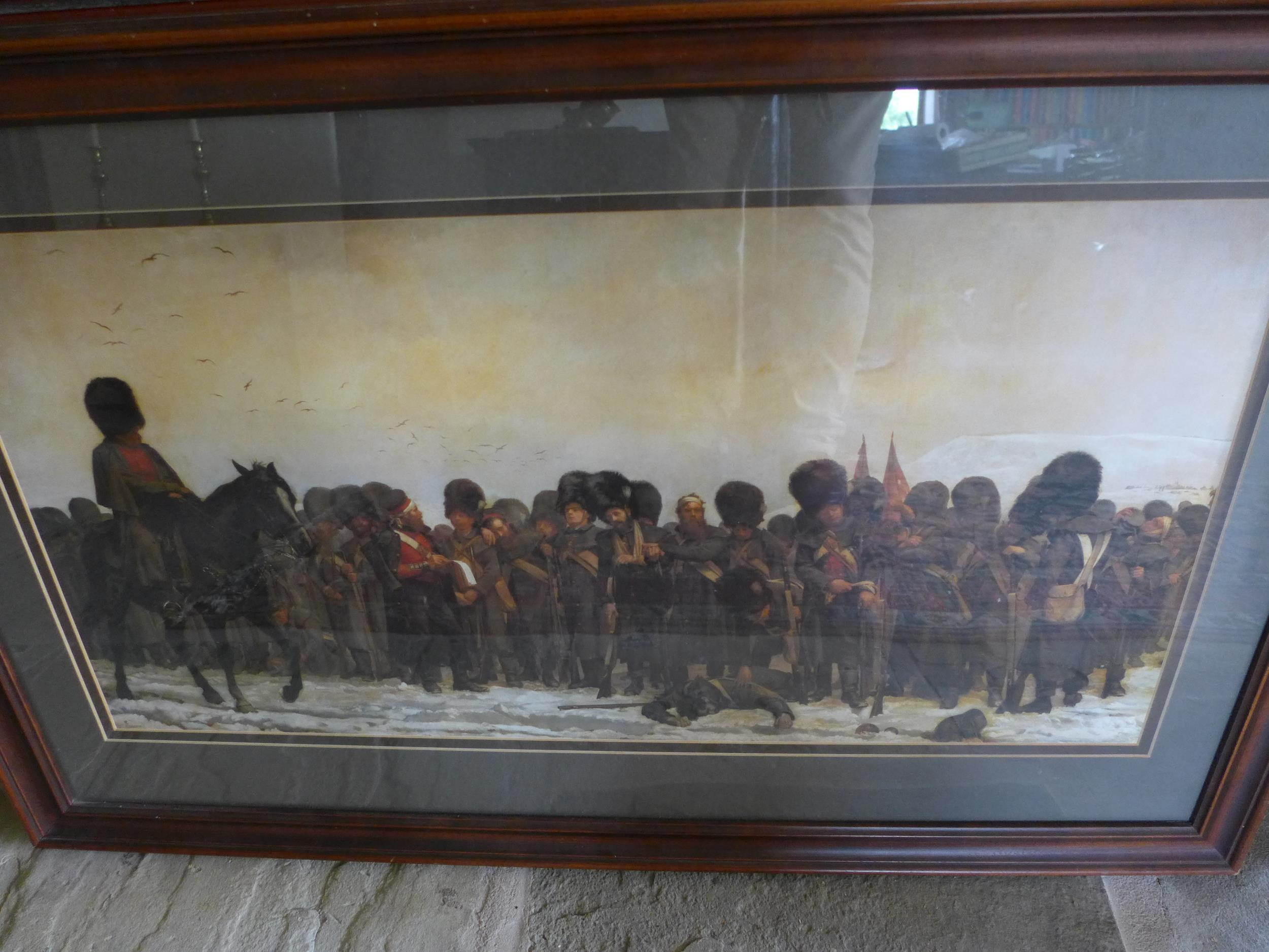 A LARGE COLOURED PRINT OF A CRIMEAN WAR SCENE OF BRITISH SOLDIERS, 39X77CM