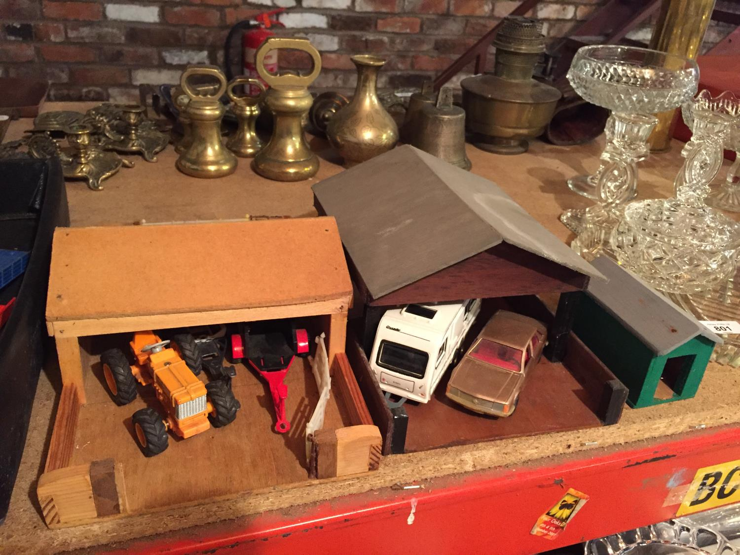 THREE WOODEN BUILDINGS WITH VEHICLES TO INCLUDE A TRACTOR AND TRAILERS, CARAVAN,CAR