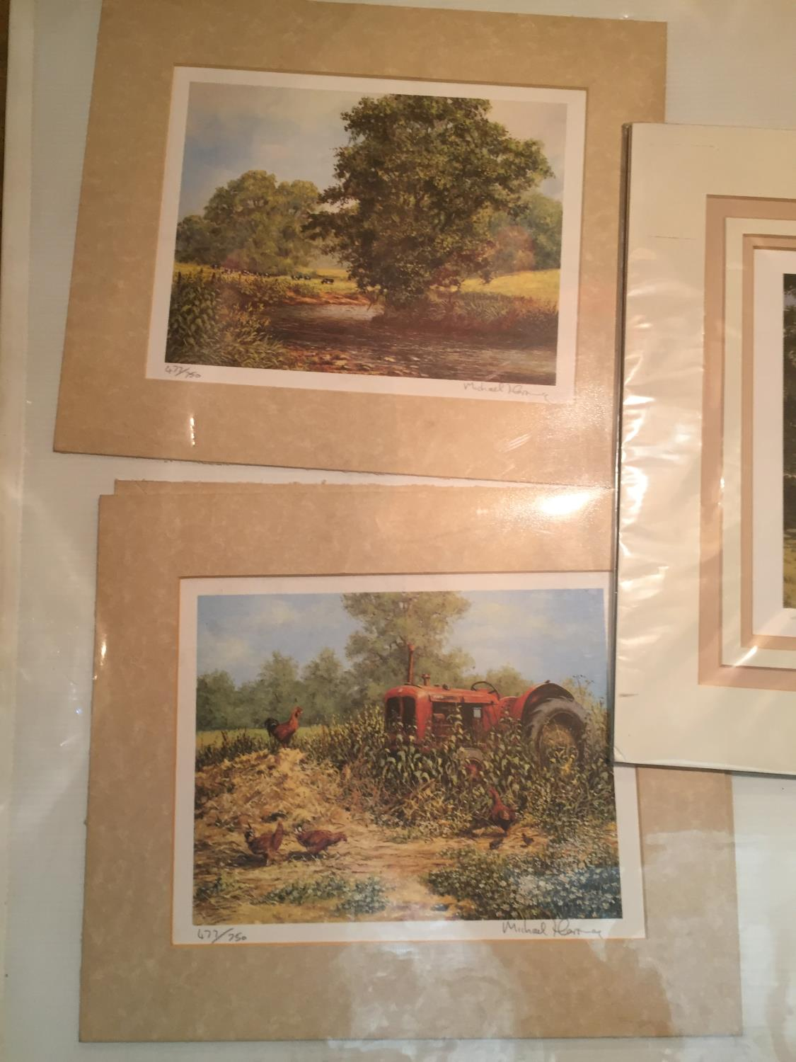 THREE MOUNTED SIGNED PRINTS OF FARM SCENES IN A HARDBACK PROTECTIVE FOLDER - Image 5 of 12
