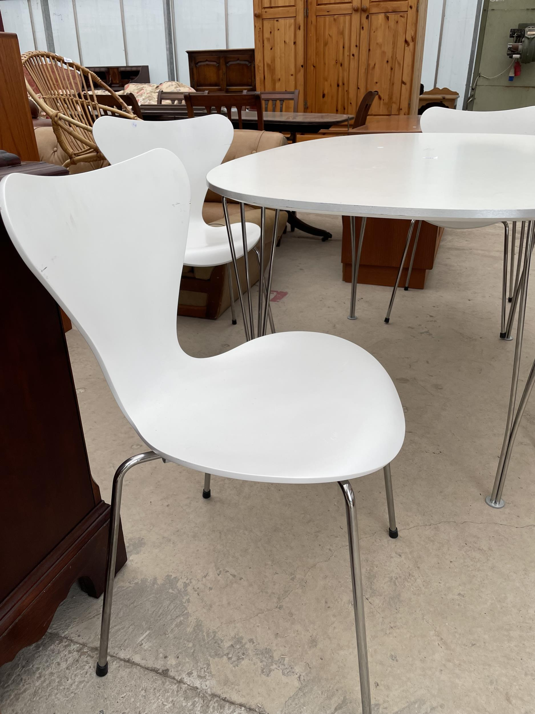 A WHITE OVULAR DINING TABLE BEARING LABEL 'MADE IN DENMARK, REPUBLIC OF FRITZ HANSEN DESIGN: PIET - Image 4 of 5