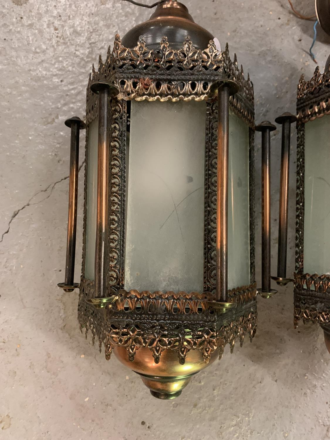 TWO MORROCAN STYLE LIGHTS WITH GLASS PANELS - Image 6 of 6