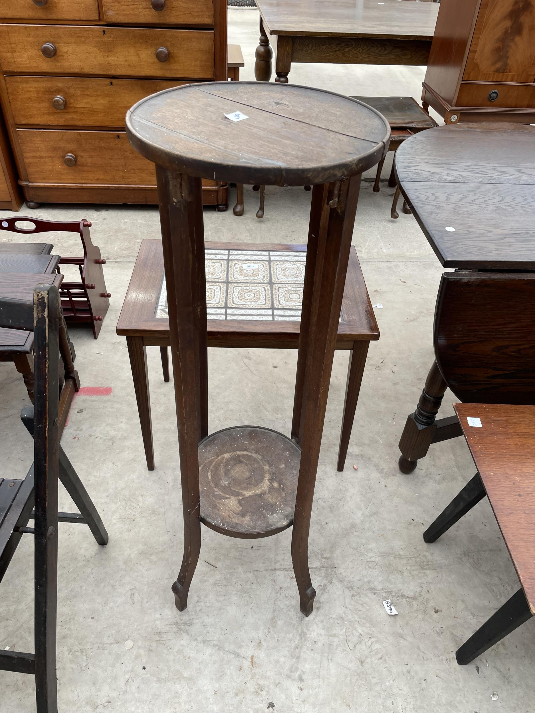A FOLDING CARD TABLE AND CHAIR, JARDINIER STAND AND PAINTED OCCASIONAL TABLE - Image 6 of 6