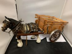 A LARGE MELBA HORSE AND WOODEN CART