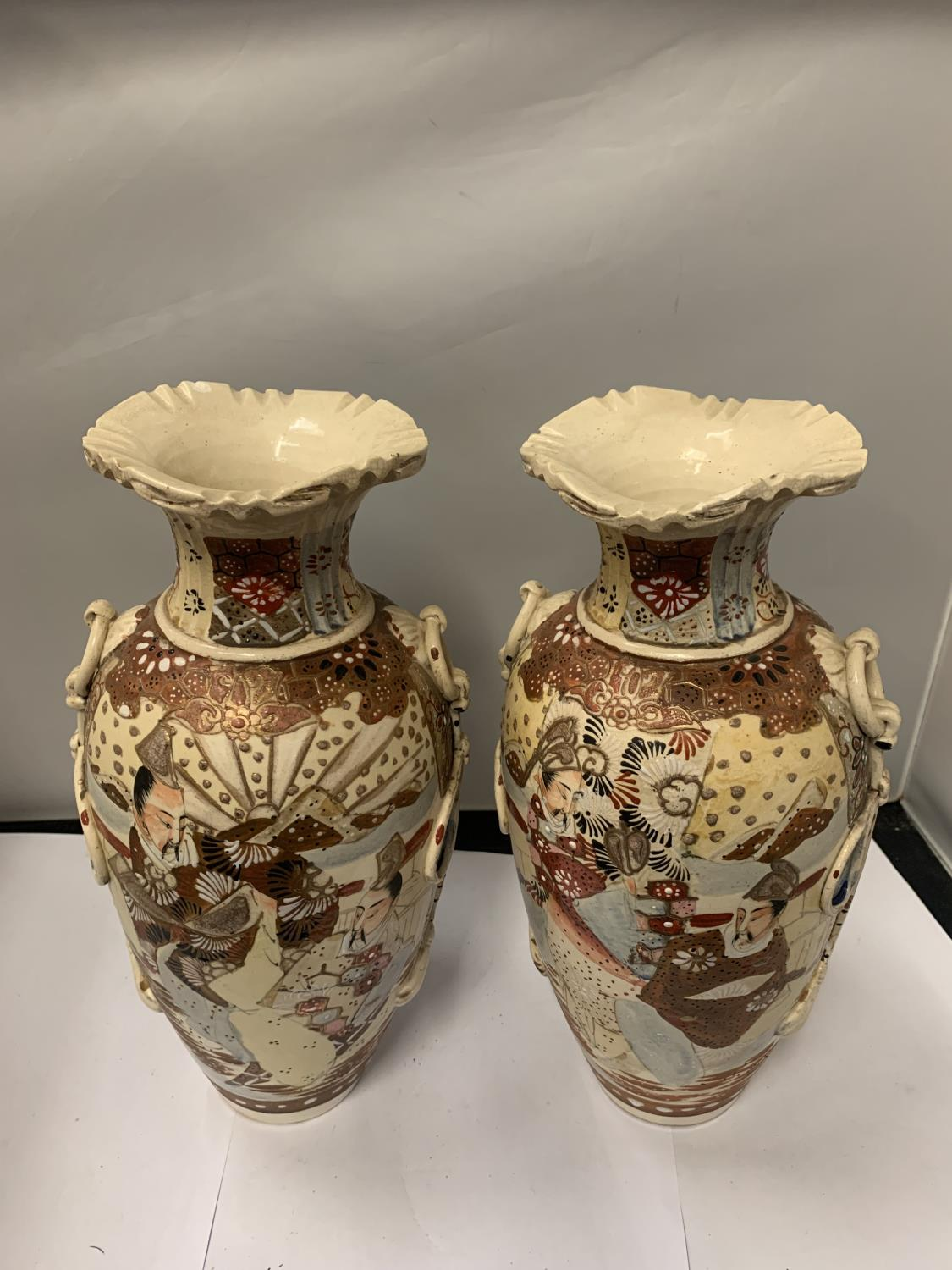 TWO HIGHLY DECORATIVE SATSUMA STYLE ORIENTAL VASES, HEIGHT 32CM, NUMBER '31' TO BASE