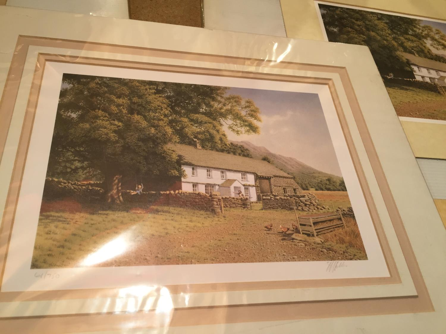 THREE MOUNTED SIGNED PRINTS OF FARM SCENES IN A HARDBACK PROTECTIVE FOLDER - Image 7 of 12