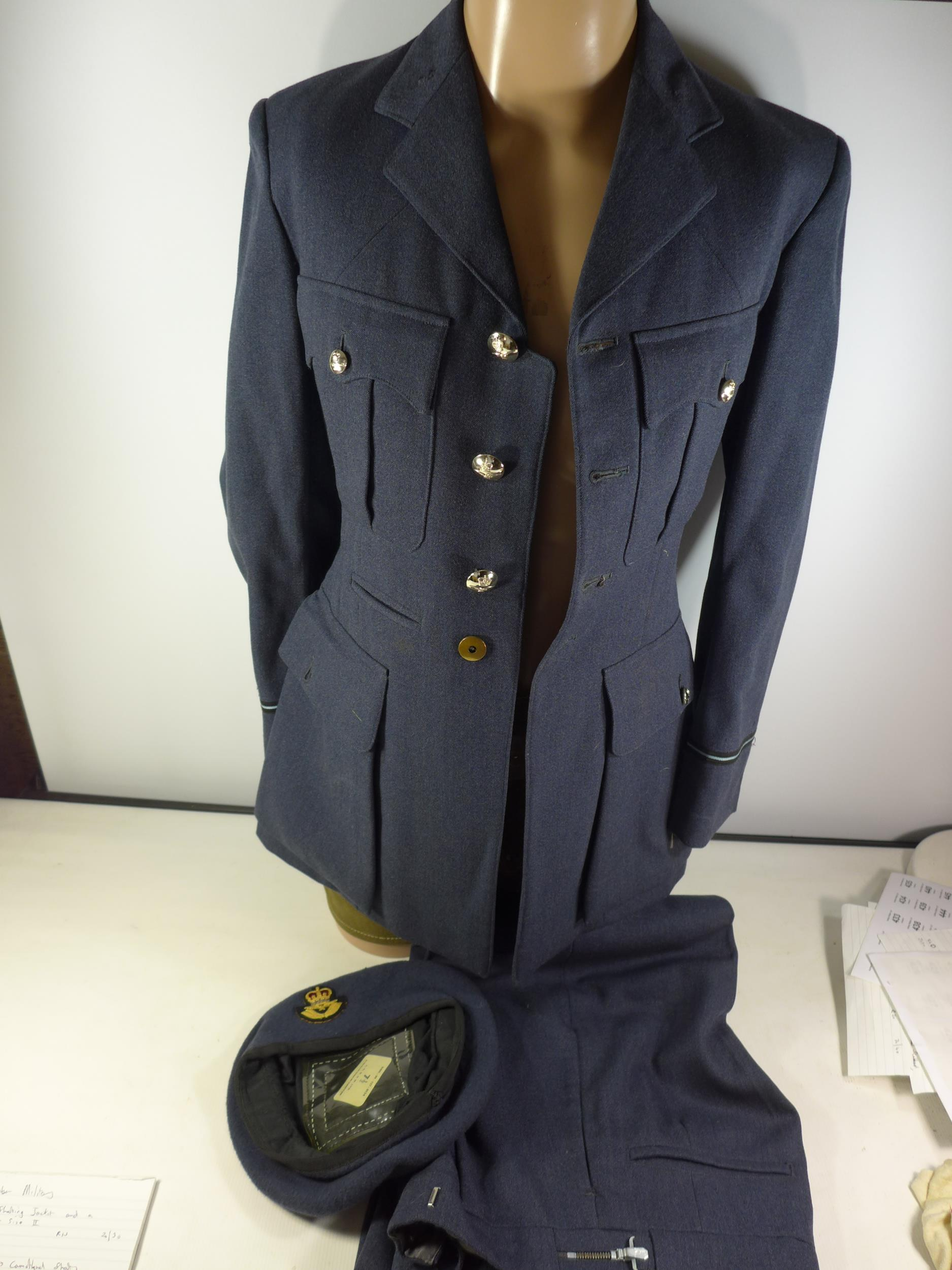 A RAF UNIFORM COMPRISING OF JACKET, TROUSERS AND BERET, SIZE 7 1/2
