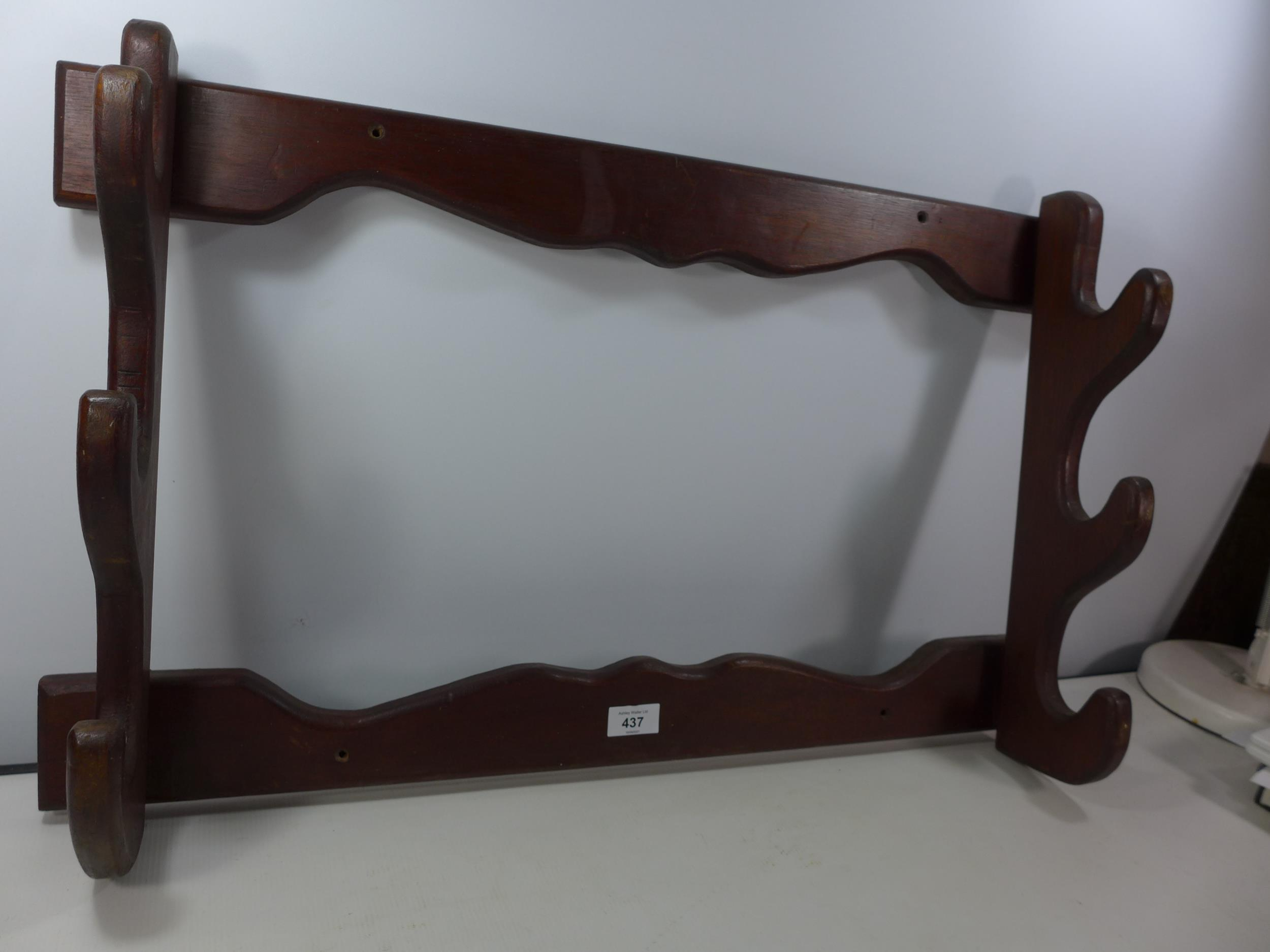A WALL MOUNTED WOODEN THREE GUN RACK, WIDTH 74CM - Image 2 of 2