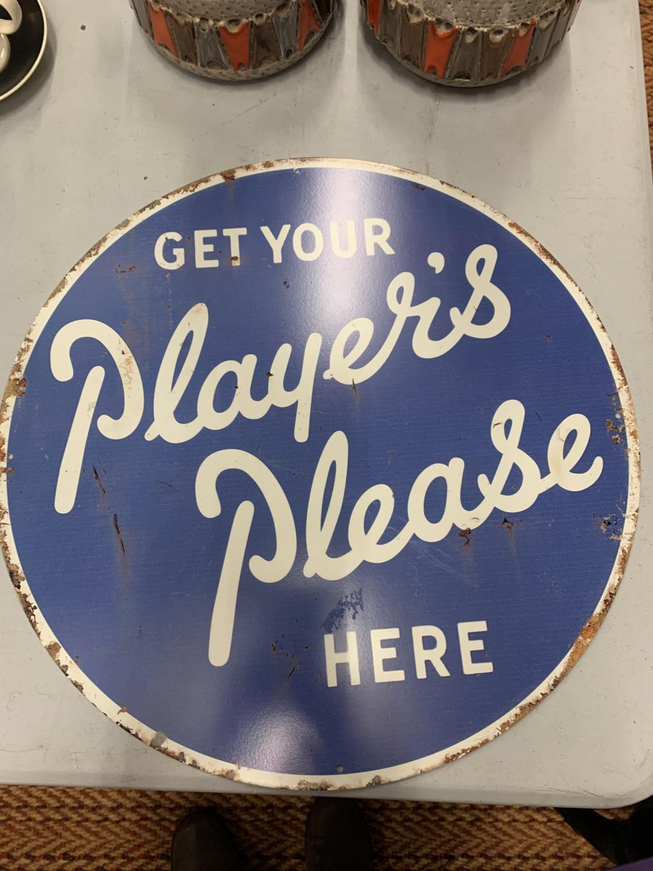 A LARGE CIRCULAR PLAYERS PLEASE SIGN 45CM DIAMETER