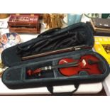 AN ALLIERI VIOLIN AND BOW IN A CASE