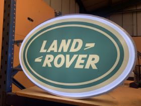A LARGE LAND ROVER DOUBLE SIDED ILLUMINATED SIGN