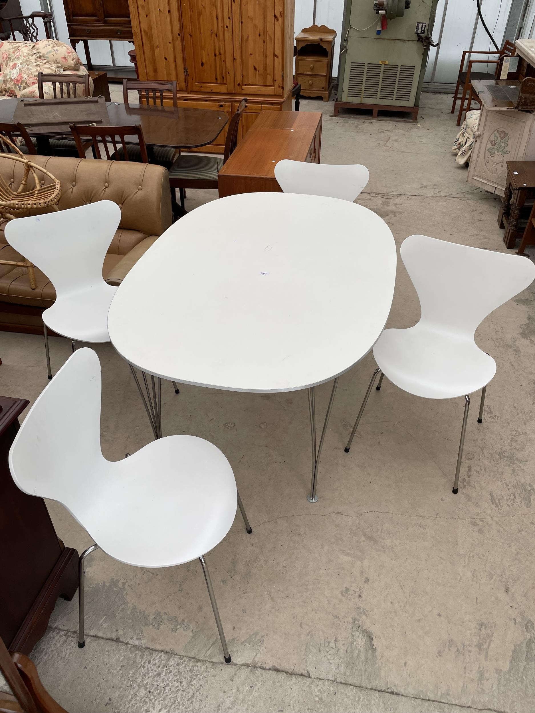 A WHITE OVULAR DINING TABLE BEARING LABEL 'MADE IN DENMARK, REPUBLIC OF FRITZ HANSEN DESIGN: PIET - Image 3 of 5