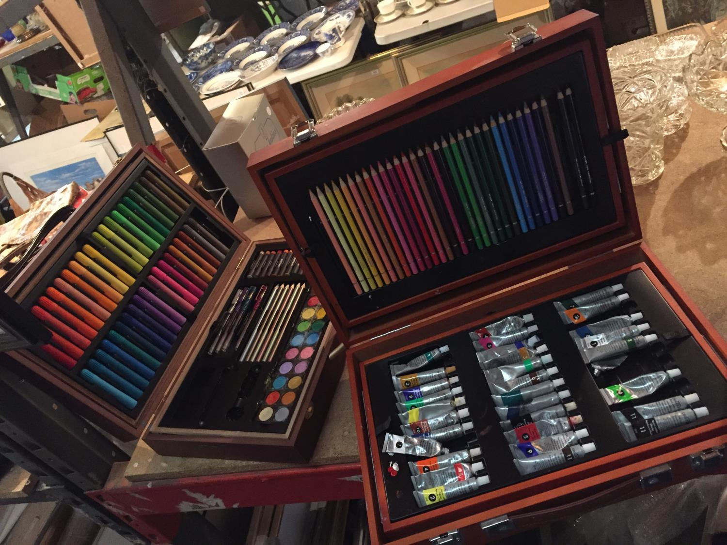 TWO CASES OF ART SUPPLIES TO INCLUDE FELT TIPS, PENCILS, OIL PAINTS ETC