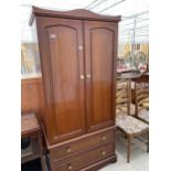 """A MODERN MAHOGANY EFFECT TWO DOOR WARDROBE HAVING TWO DRAWERS TO THE BASE, 36""""WIDE"""