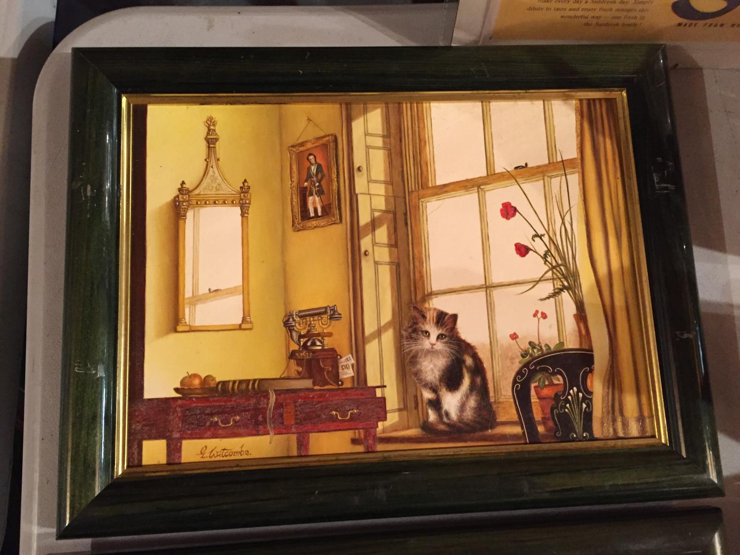 TWO FRAMED PAINTINGS OF A CAT IN A WINDOW AND A DOG IN A WINDOW - Image 6 of 6