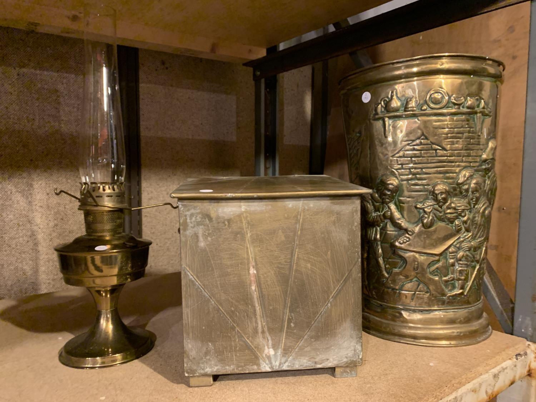 A BRASS OIL LAMP, COAL BOX AND UMBRELLA/STICK STAND