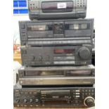 AN ASSORTMENT OF STEREO SYSTEM ITEMS TO INCLUDE TECHNICS TAPE DECK, JVC CD PLAYER AND A TECHNICS