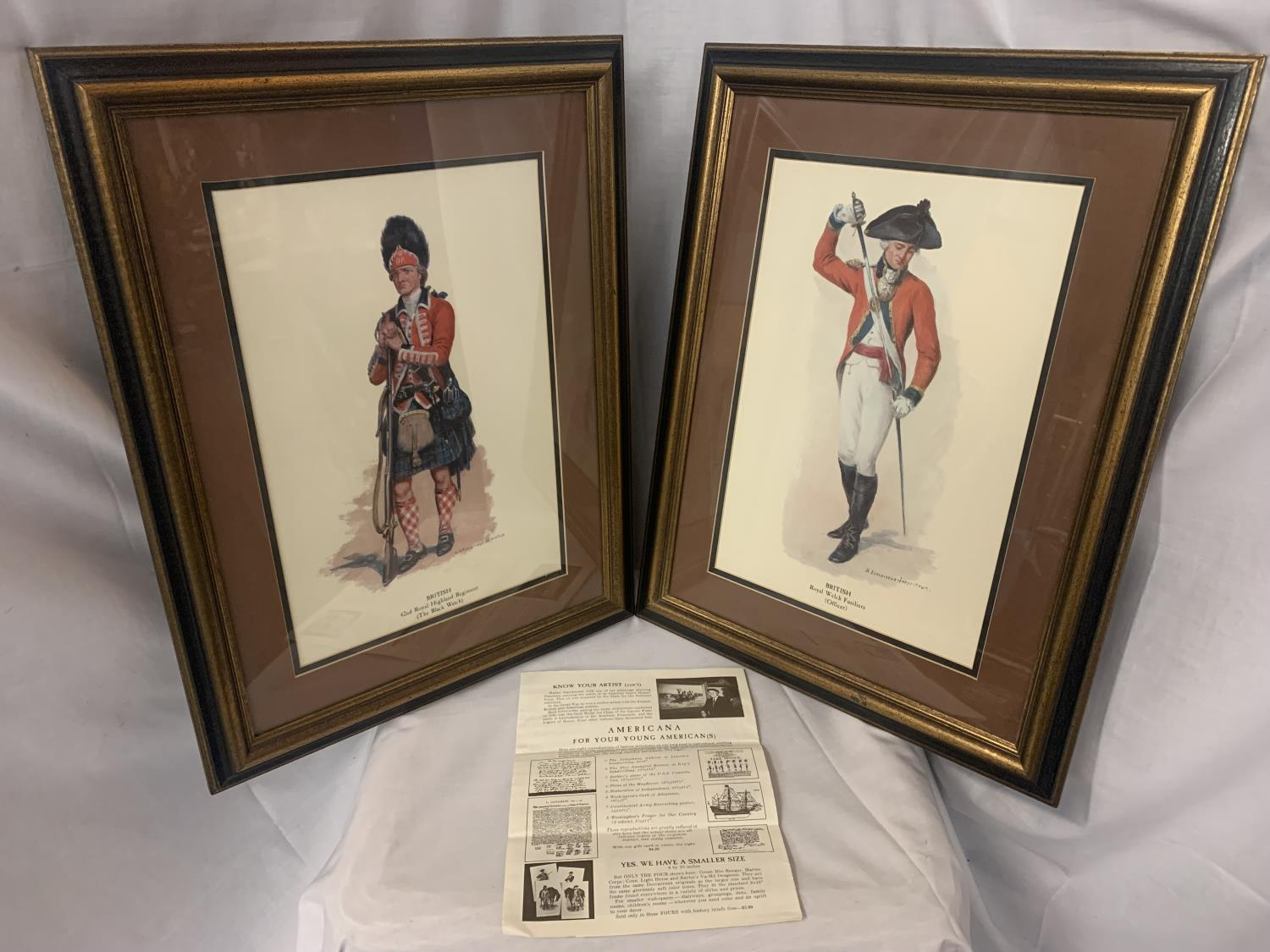 TWO FRAMED PICTURES OF ROYAL WELSH FUSILIERS AND HIGHLAND REGIMENT