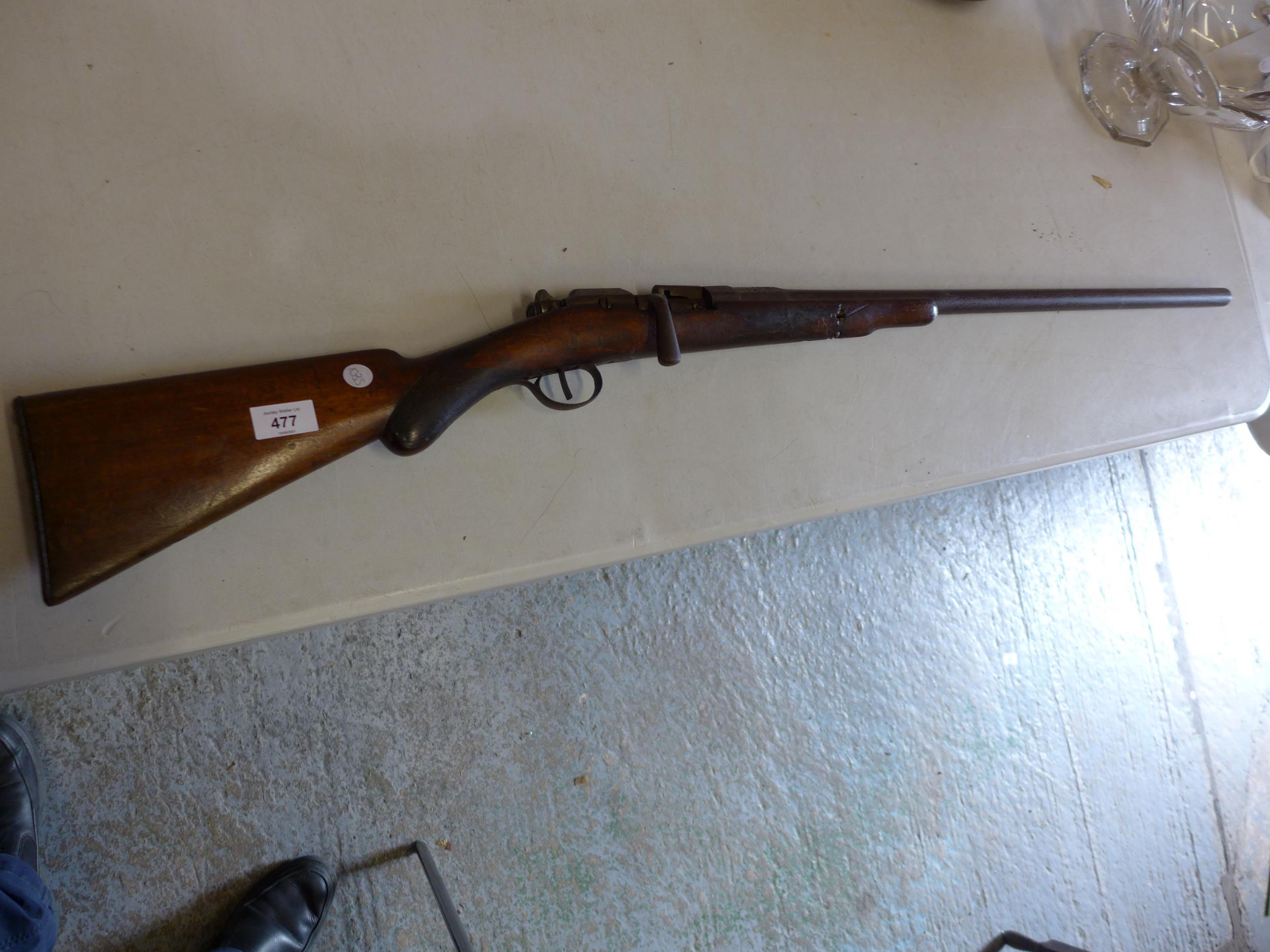 A BELGIUN MADE CHASSEPOT SMOOTH BORE BOLT ACTION SINGLE BARREL GUN, 71CM BARREL