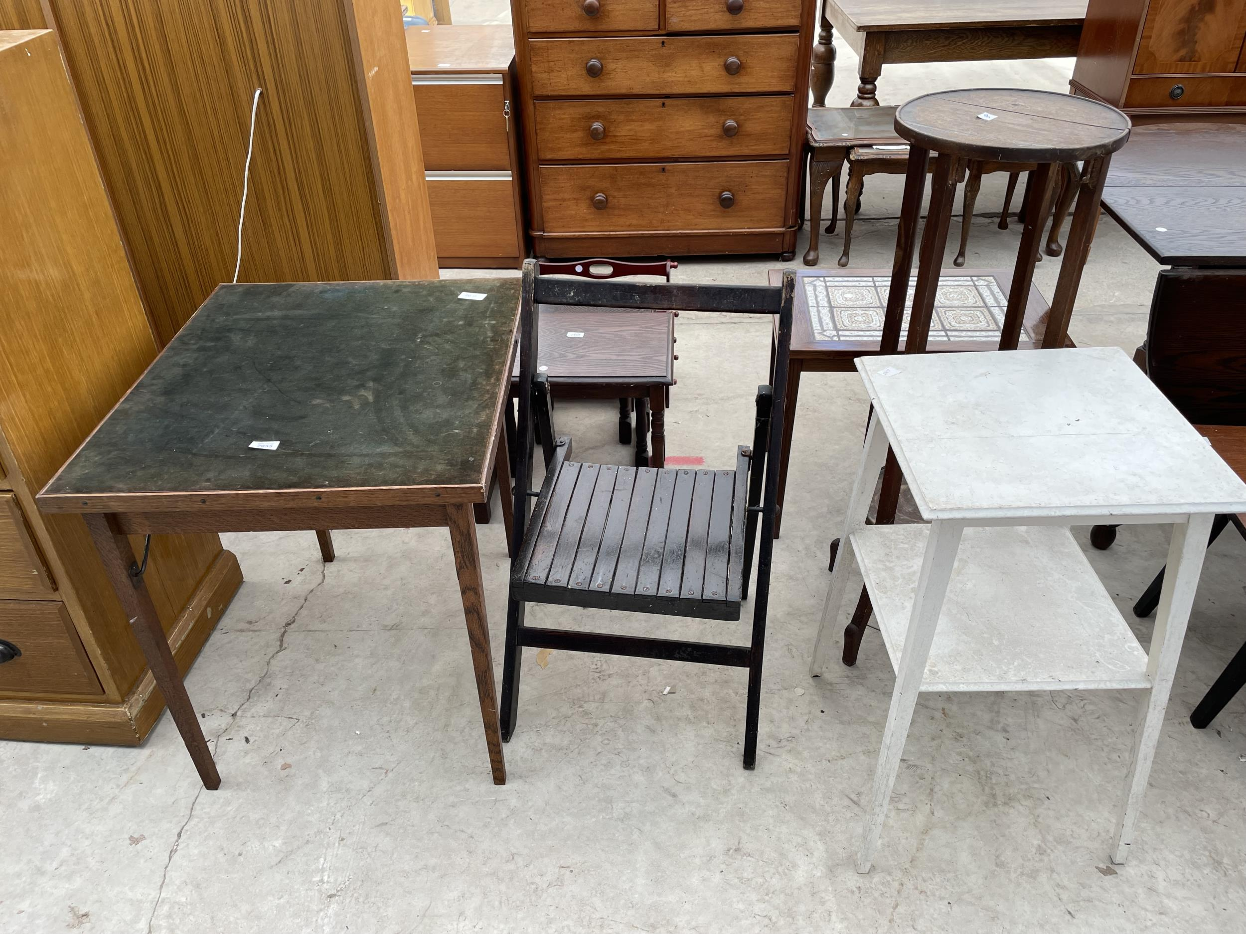 A FOLDING CARD TABLE AND CHAIR, JARDINIER STAND AND PAINTED OCCASIONAL TABLE