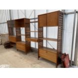 A RETRO TEAK STAPLES LADDERAX FOUR SECTION UNIT ENCLOSING, CABINETS, CABINETS WITH SLIDING GLASS