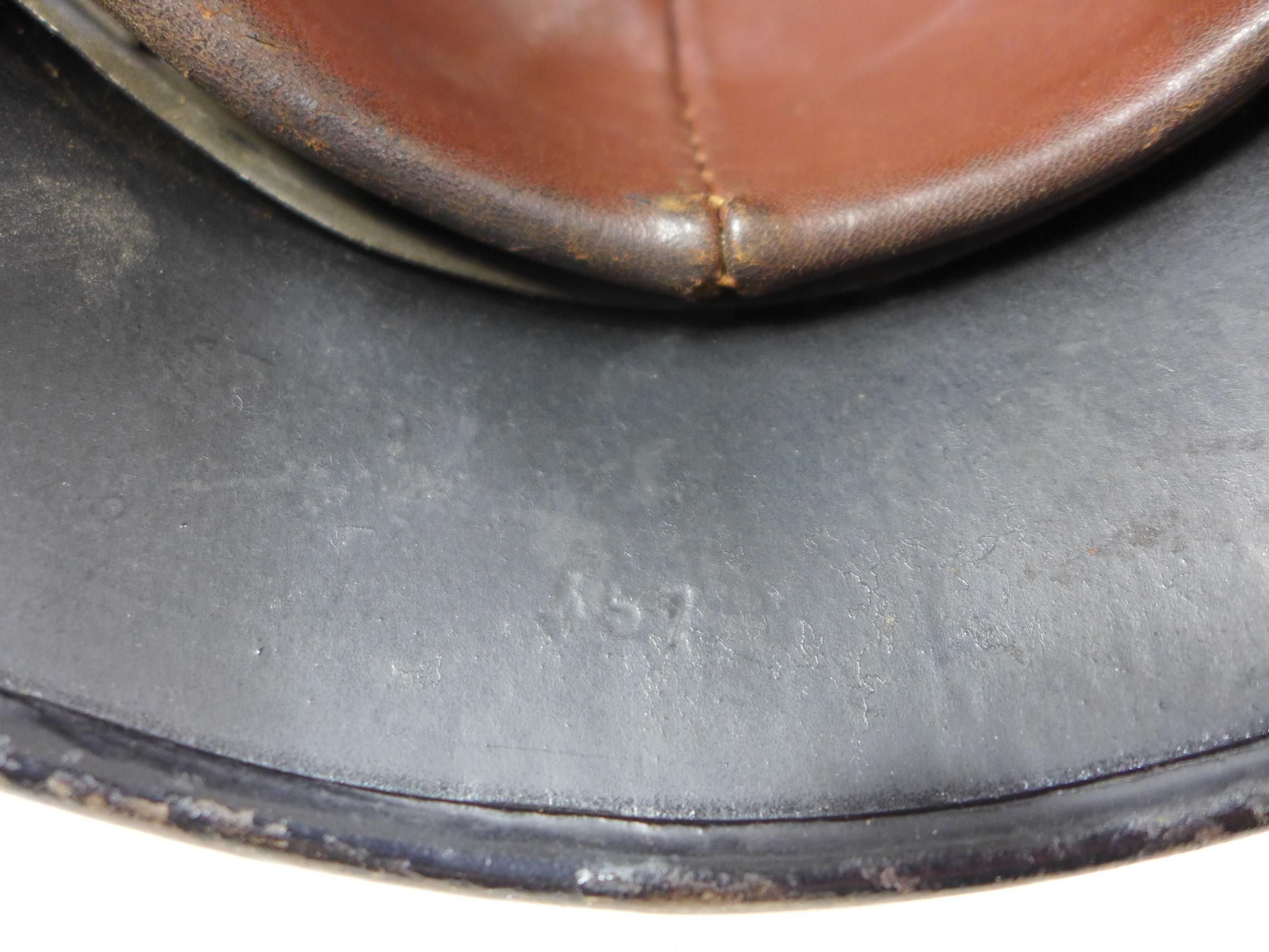 A GERMAN BLACK PAINTED METAL HELMET WITH SS RUNES AND SWASTIKA DECALS - Image 5 of 8